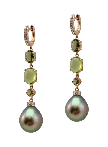 14KRG Tahitian Cultured Pearl With Colored Stone Earrings