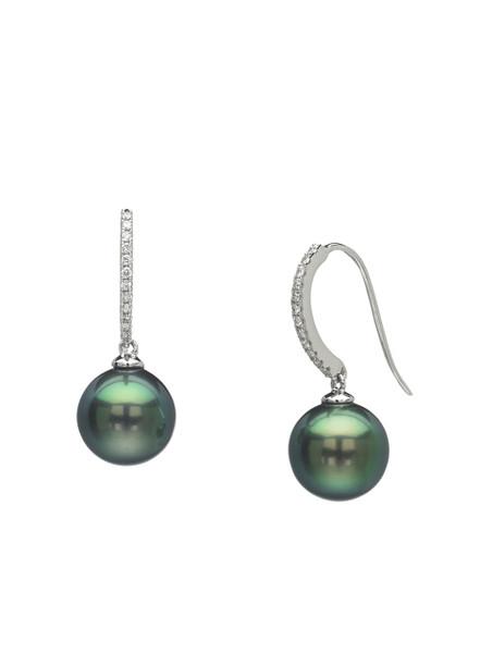 18K Tahitian Cultured Pearl And Diamond Hook Earrings