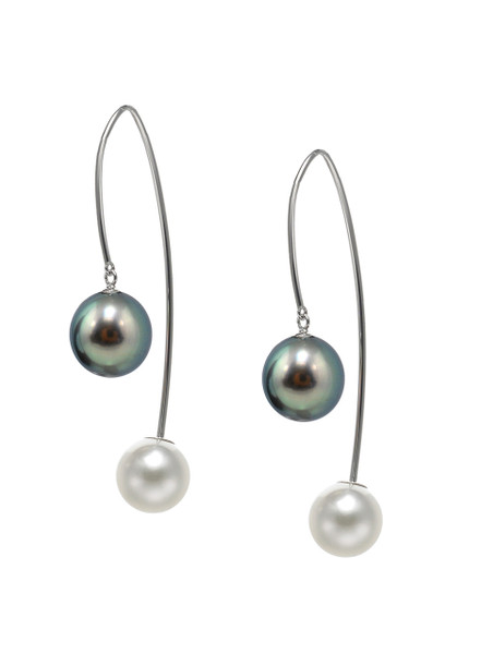 14K Cultured Pearl Front To Back Earrings