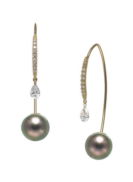 18KYG Tahitian Cultured Pearl And Diamond Front To Back Earrings