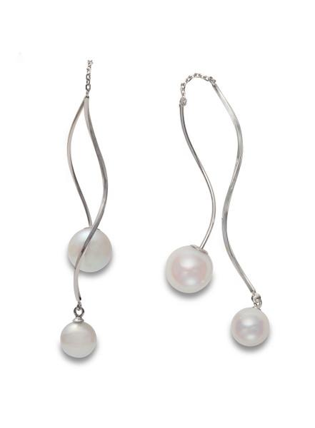 18K Akoya Cultured Pearl Front To Back Swirl Earrings