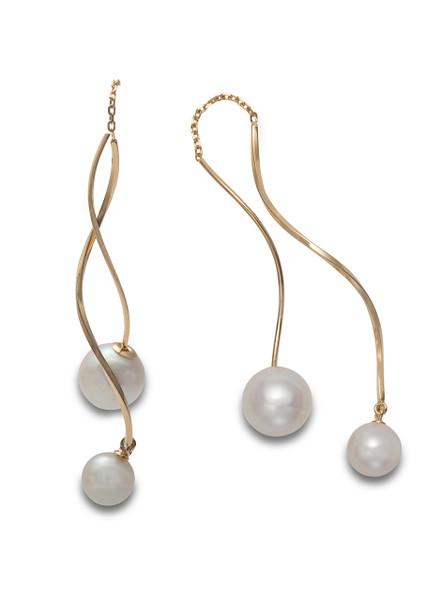 18KYG Akoya Cultured Pearl Front To Back Swirl Earrings