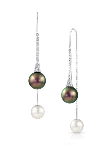 18K Cultured Pearl And Diamond Front To Back Chain Earrings