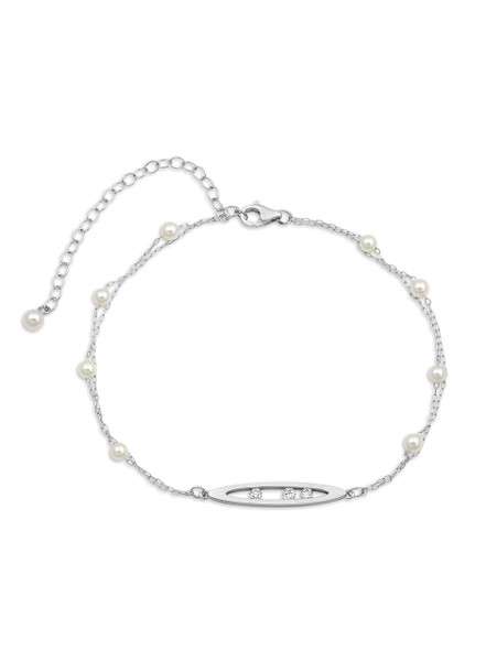 14K Pearl And Chain Bracelet With Diamond Set Marquise Centerpiece