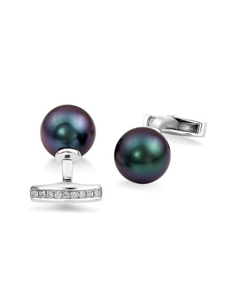 18k Tahitian Cultured Pearl And Diamond Cufflinks
