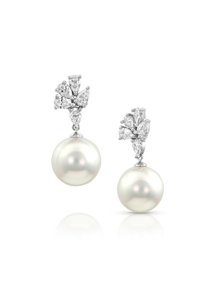 18K Earrings With Diamond Pear Cluster Top And South Sea Cultured Pearl Drop