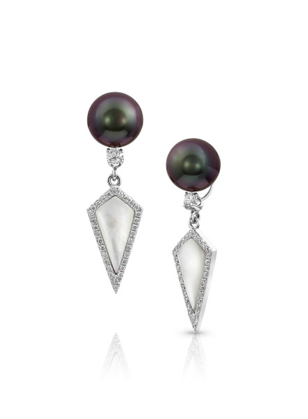 18K Tahitian Cultured Pearls Earrings With Diamond And Mother Of Pearl Dangle