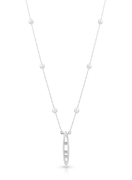 14K Pearl And Chain Necklace With Diamond Set Marquise Drop