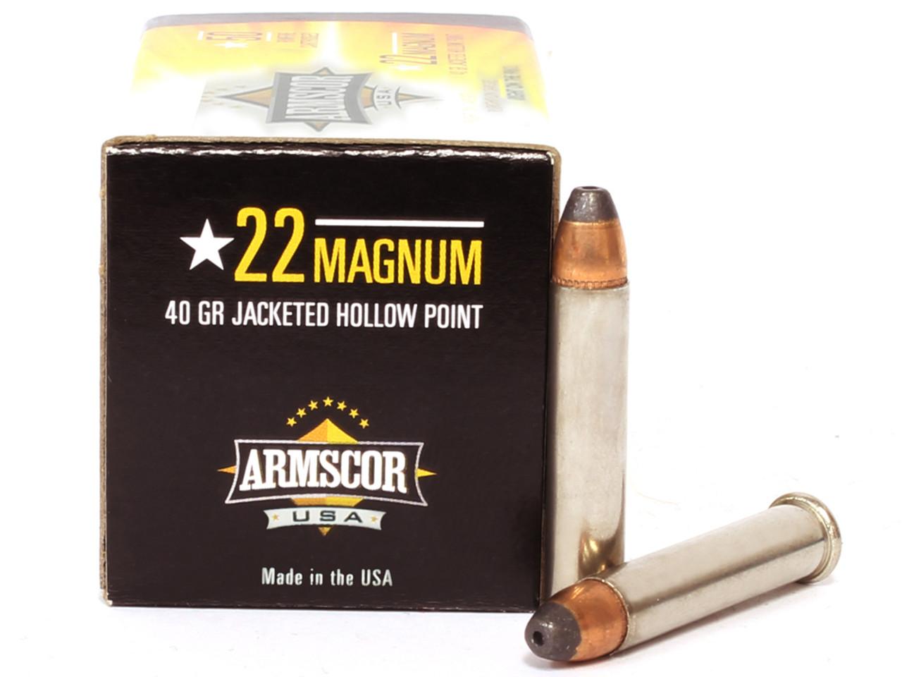 22 magnum 40 grain jhp armscor usa ammunition for sale in stock