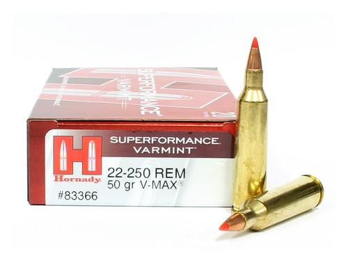Hornady .22-250 Rem Rifle Ammunition V-Max Hornady Superformance Varmint Ammo 22-250 Remington 83366 Surplus Ammo