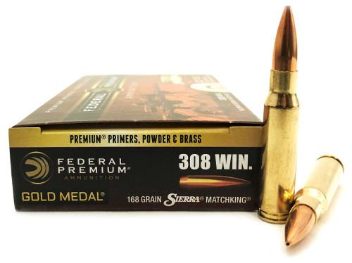 federal premium gold medal 308 winchester 168 grain sierra match
