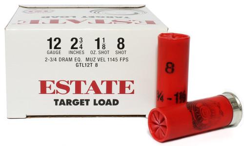 """Surplusammo.com 12 Gauge Federal Estate Game & Target Dove 2 3/4"""" 1 1/8oz. #8 Shot - 25 Rounds FDGTL12T 8"""