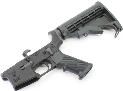 Surplusammo.com Spike's Tactical PUNISHER Logo AR15 Complete Lower with DPMS LPK & SAA Stock Kit STLS015SAA