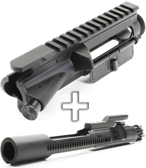 Surplusammo.com | Surplus Ammo SAA Forged AR15 Assembled No-Mark Flat Top Upper Receiver - Fwd Assist+Dust Cover + Phosphate BCG SAAUP035-SAABP017