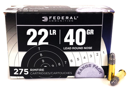 22 LR Federal Range Pack 40 Grain Lead Round Nose Bulk Pack Ammo - 275 Rounds FD729-275