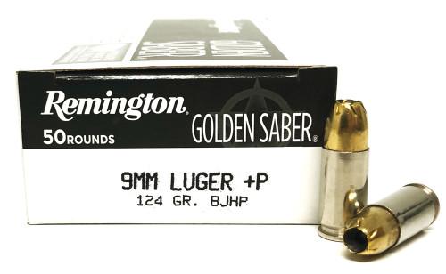 9mm 124 Grain BJHP +P Bonded Remington LE Golden Saber GS9MMDB, GSB9MMD