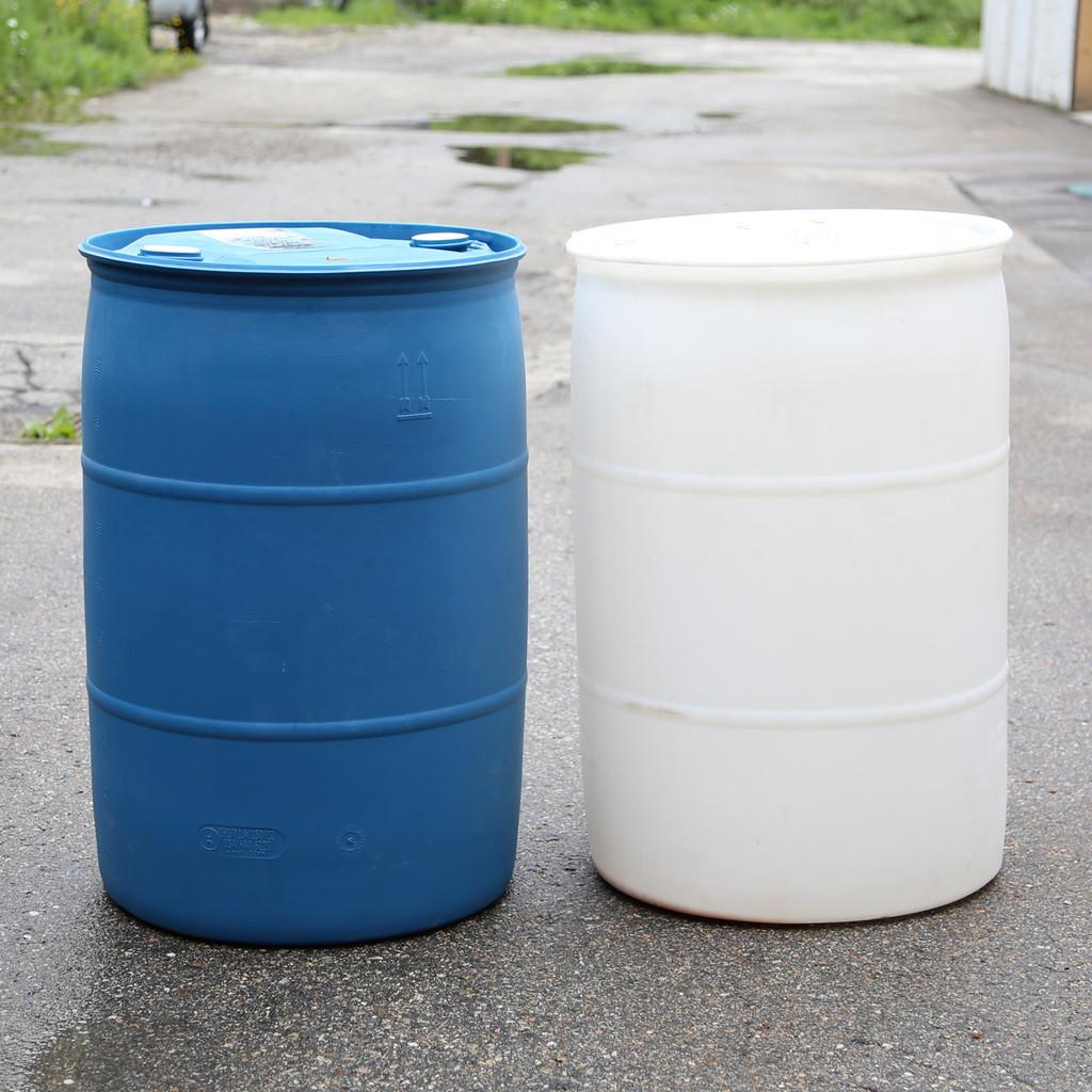 55 GAL DRUM, plastic, sealed, used