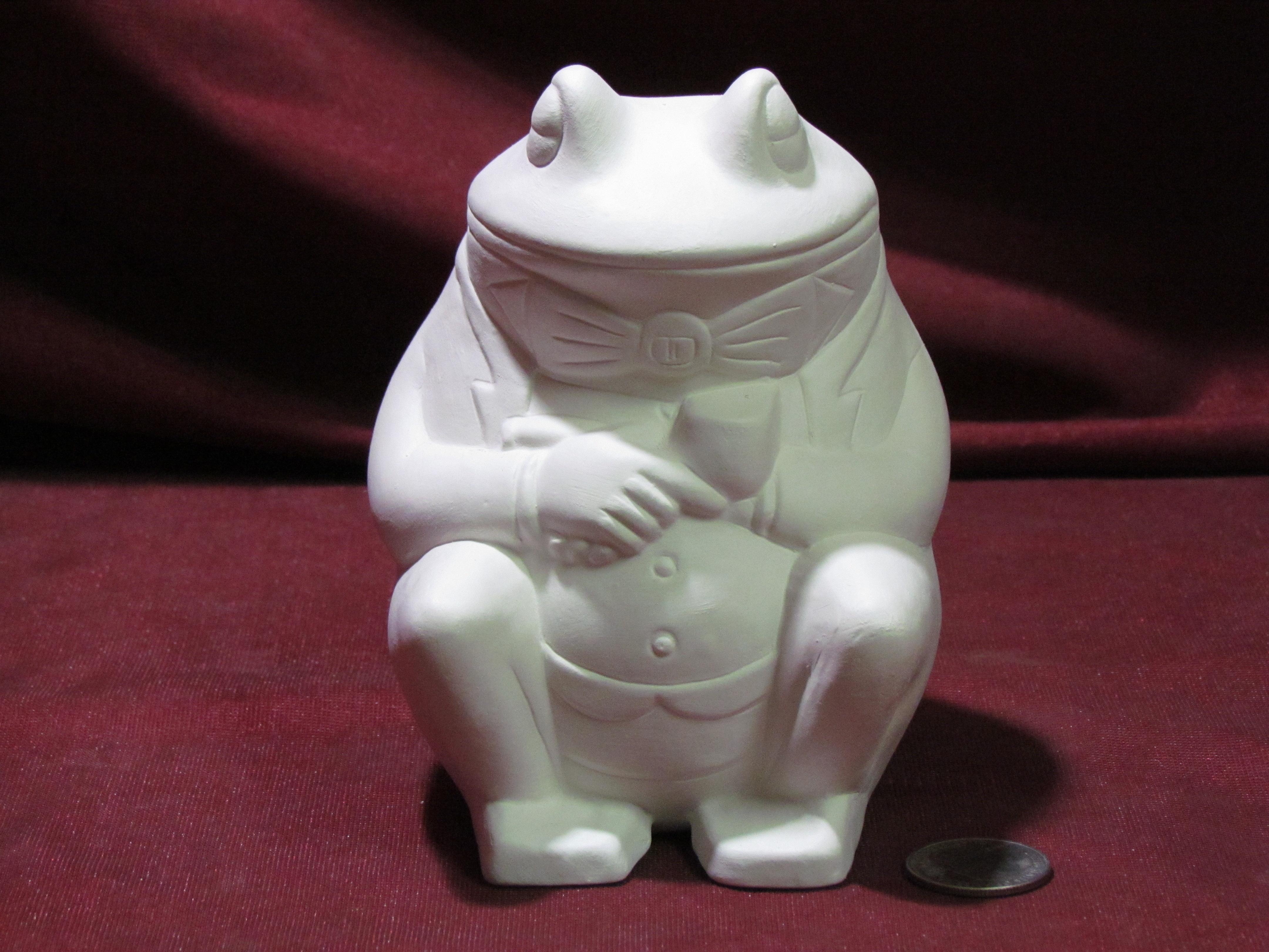 Meditating Frog 6 ceramic bisque u paint