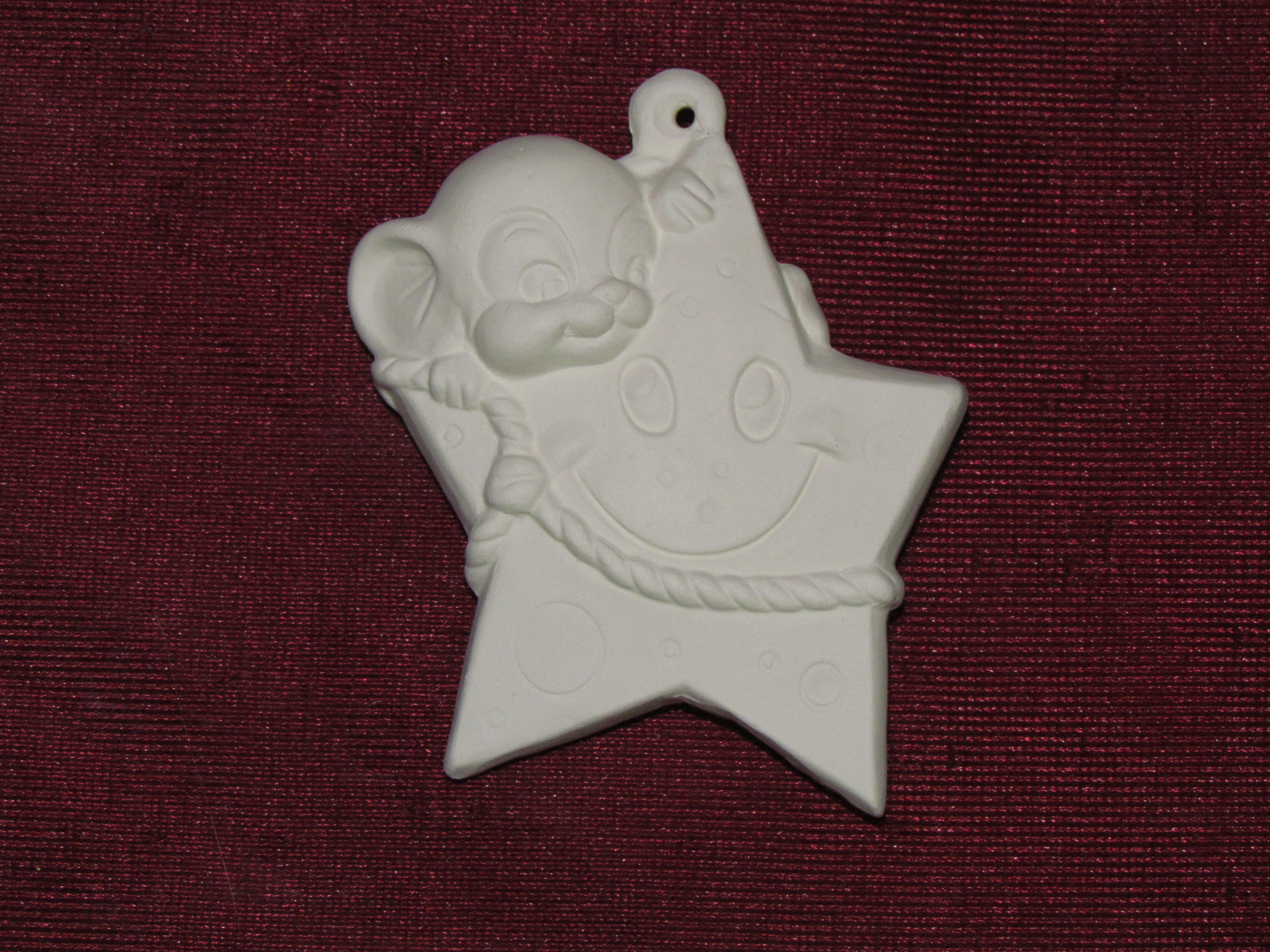 Mouse Christmas Ornaments Asst #1 Set of 6 Ready to Paint Ceramic Bisque