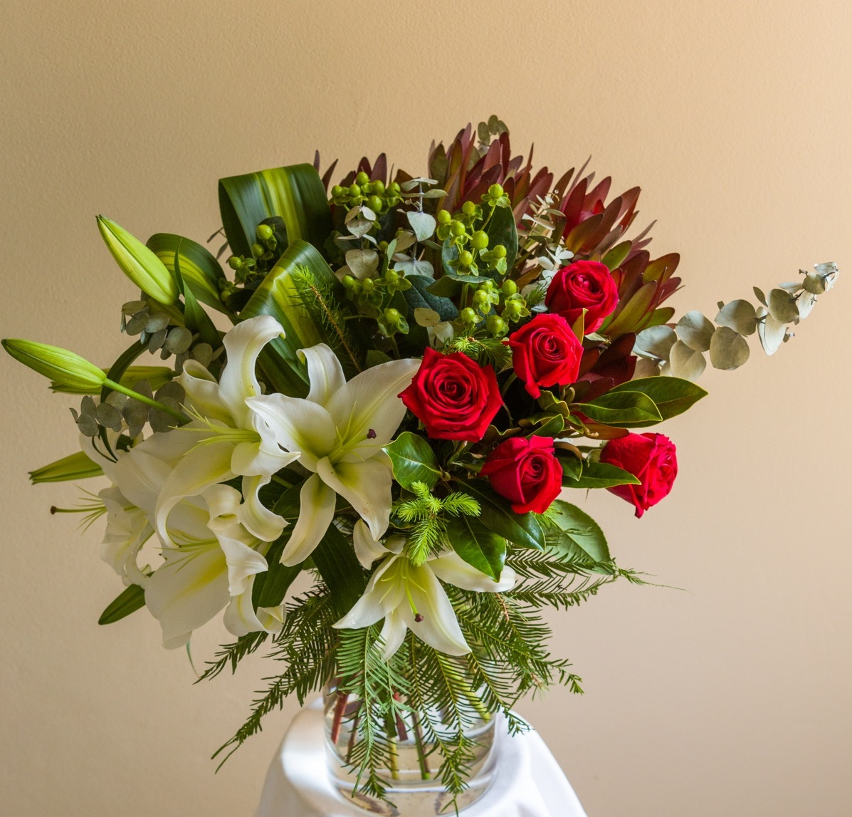 Bouquet of red white and green flowers