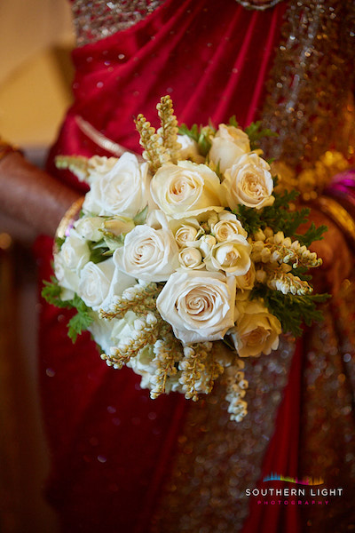 bridal bouquet hindu wedding white creme red dress