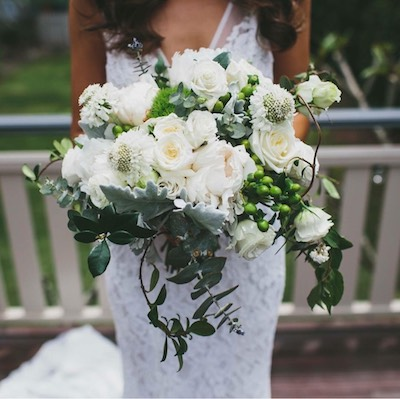 natural white green unstructured bridal bouquet sydney