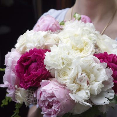 peony white pink wedding bouquet