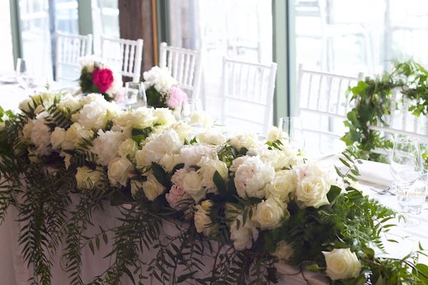 peony rose bridal table flowers