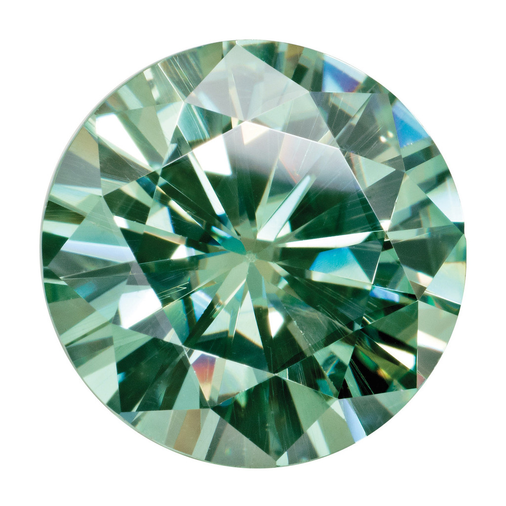 4.5 mm Round Medium Green Moissanite Stone MT-0450-RDF-GM