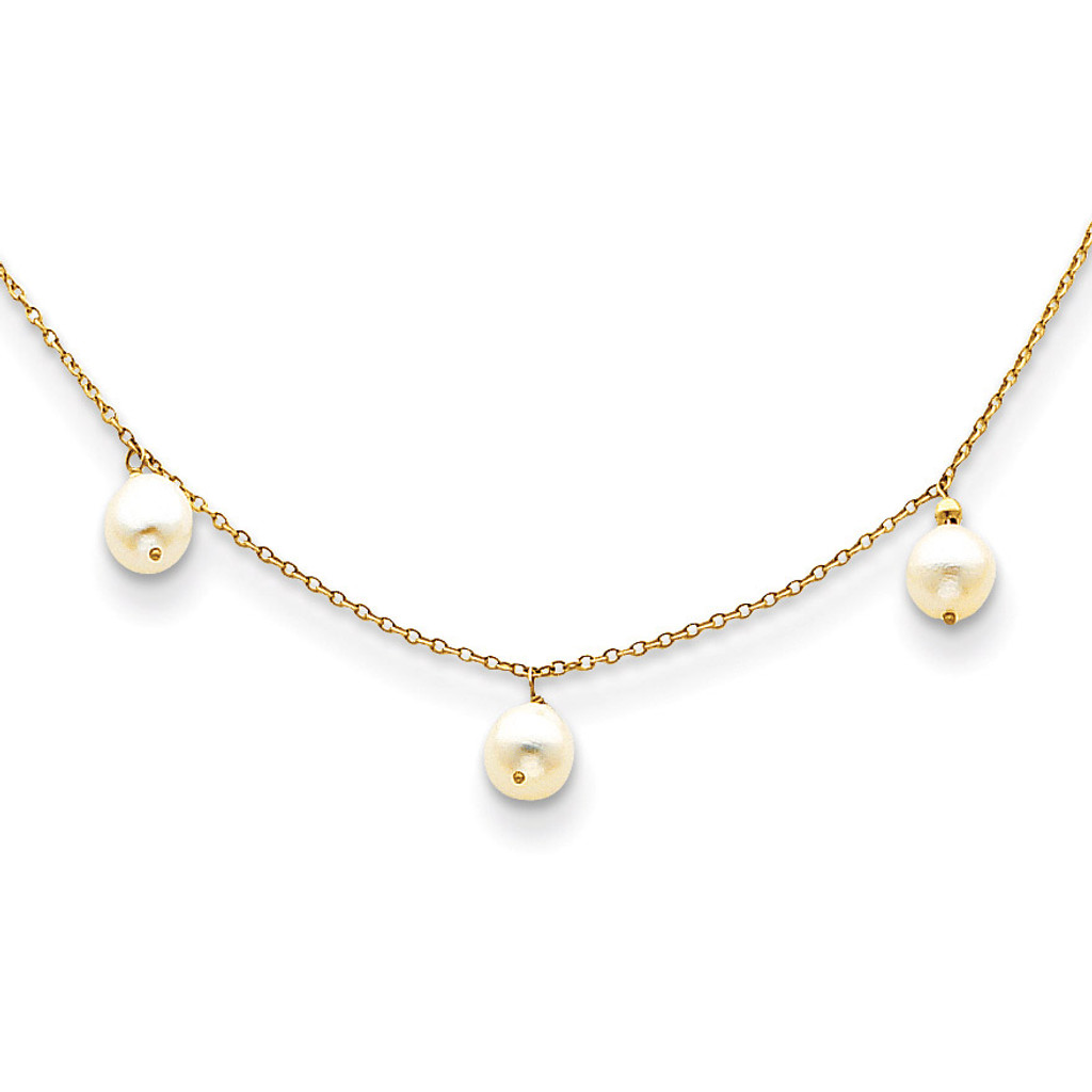 14k Gold Fresh Water Cultured Pearl Necklace MPN: XF131-16