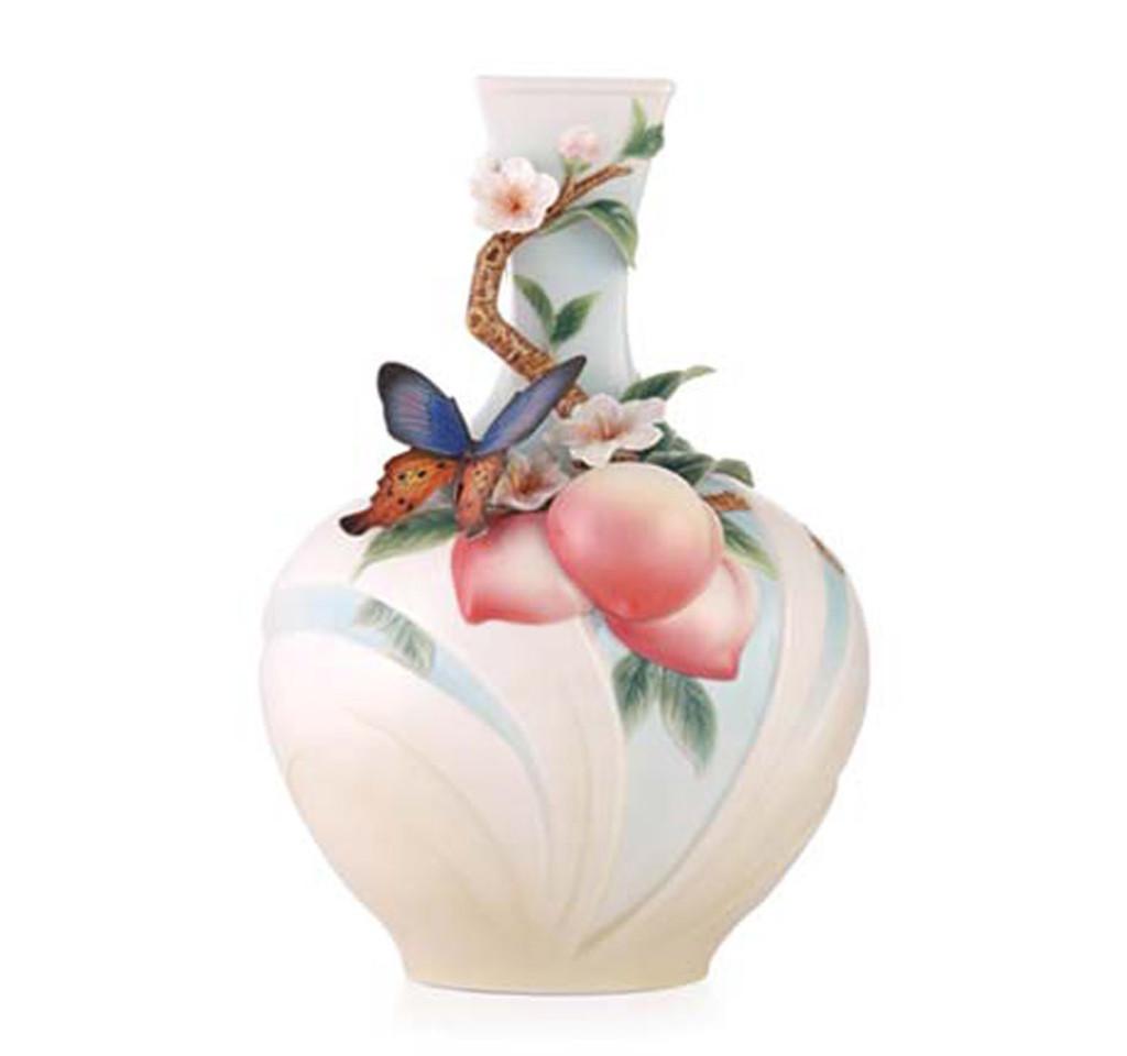 Franz Porcelain Franz Porcelain Vase Butterfly Peach Limited
