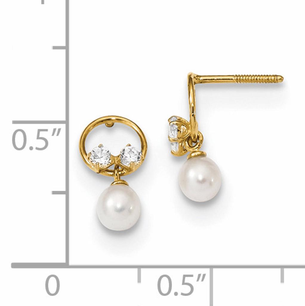 CZ & Freshwater Cultured Pearl Dangle Screwback Post Earring 14k Gold Polished YE1823
