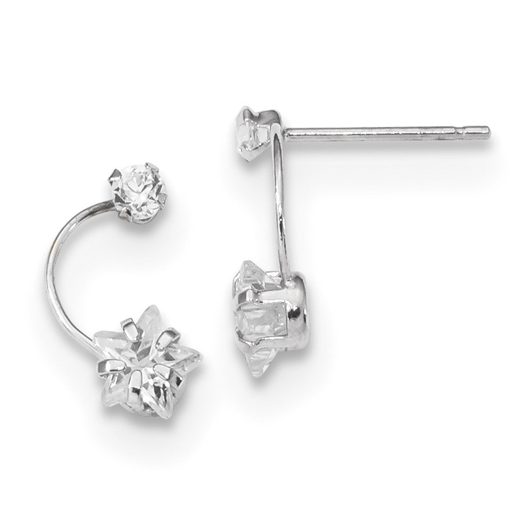 Polished Shooting Star CZ Post Earrings 14k white Gold MPN: YE1825