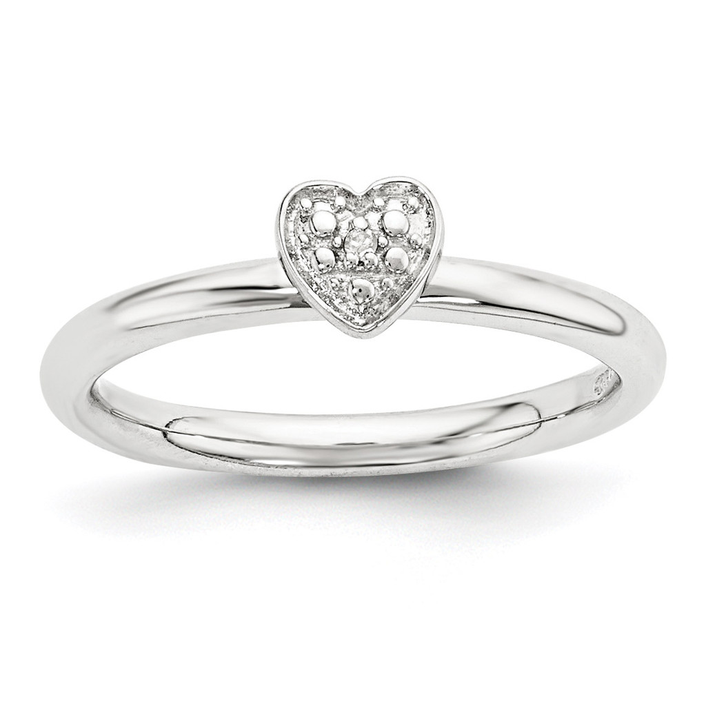 Diamond Heart Ring Sterling Silver Polished MPN: QSK1867 UPC: 886774377131 by Stackable Expressions