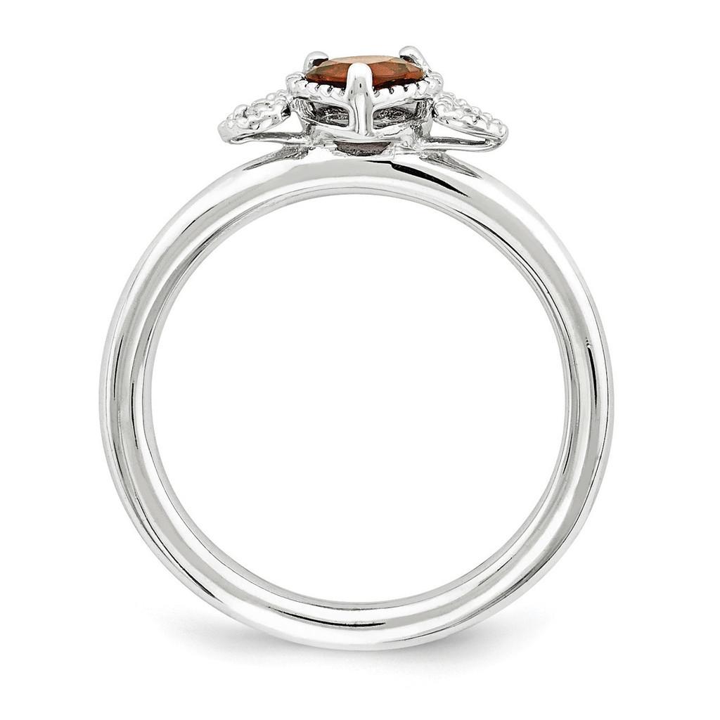 Garnet & Diamond Hearts Ring Sterling Silver QSK1868