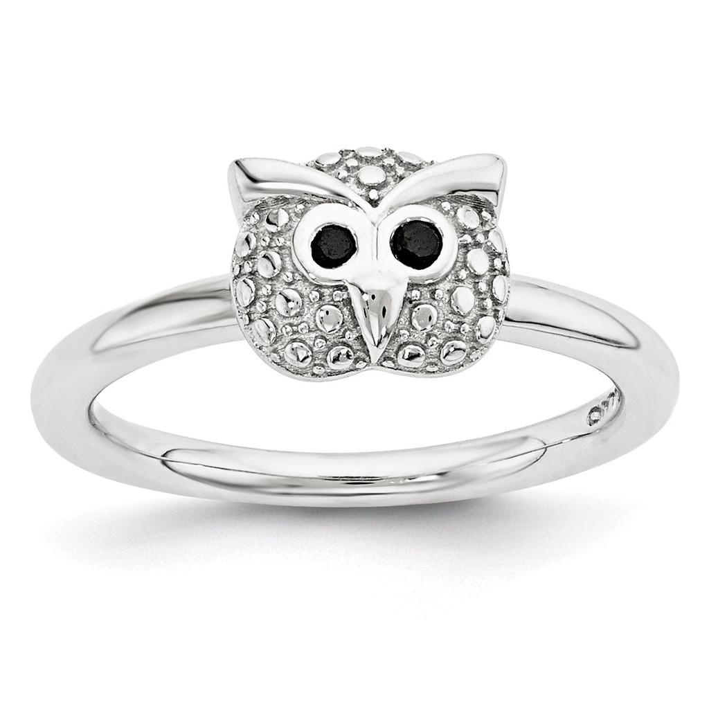 Onyx Owl Ring Sterling Silver Polished MPN: QSK1869 UPC: 886774377254 by Stackable Expressions