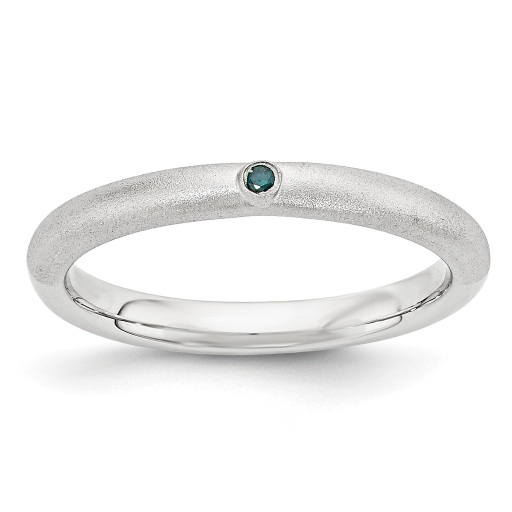 Blue Diamond Ring Sterling Silver MPN: QSK1870 UPC: 886774377315 by Stackable Expressions