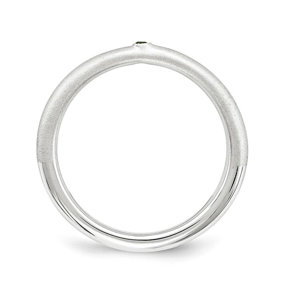 Green Diamond Ring Sterling Silver QSK1873