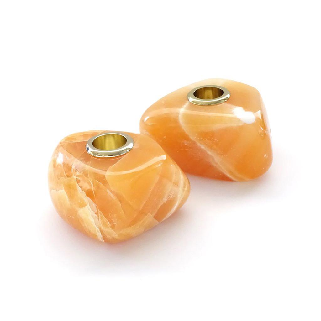 Anna by Rablabs Vela Candlesticks Short Tangerine Calcite Gold Set of Two, MPN: VE-005-SG UPC: 810345025589