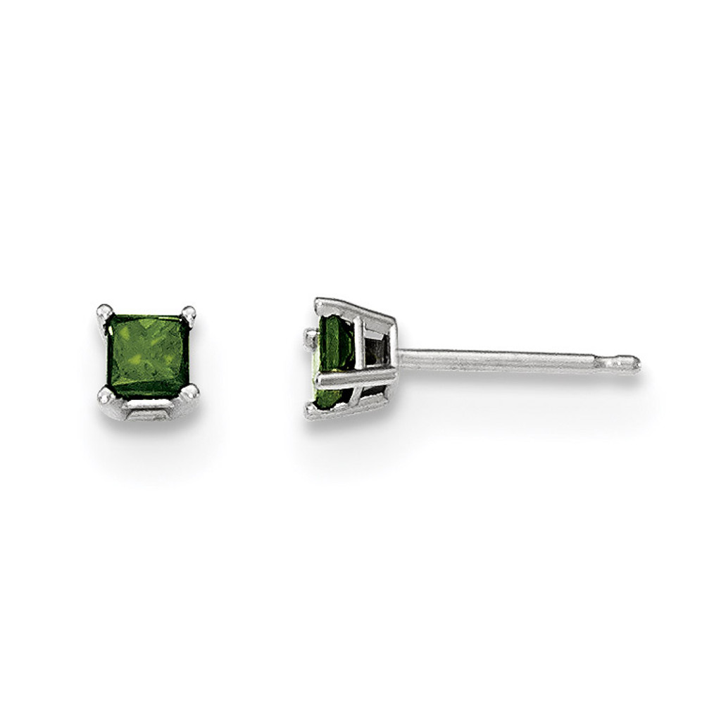 .30Ct. Green Diamond Stud Earrings 14k White Gold MPN: XE2792