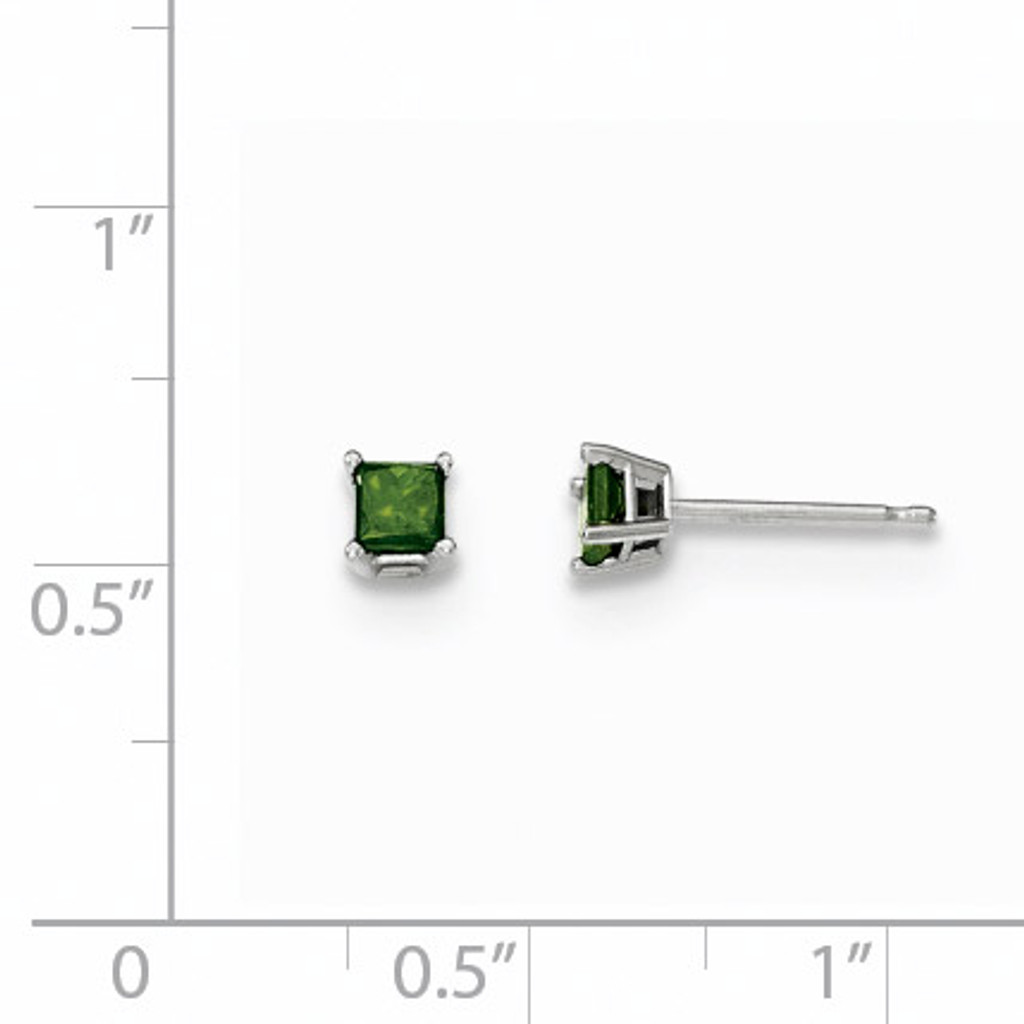 .30Ct. Green Diamond Stud Earrings 14k White Gold XE2792
