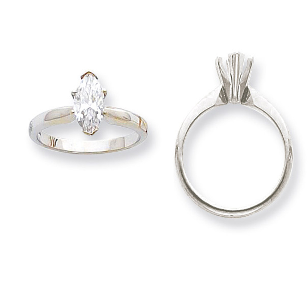 1-2ct. High-Shoulder Marquise Solitaire Mounting 14K White Gold  MPN: KS103-1/2 UPC: 883957346250