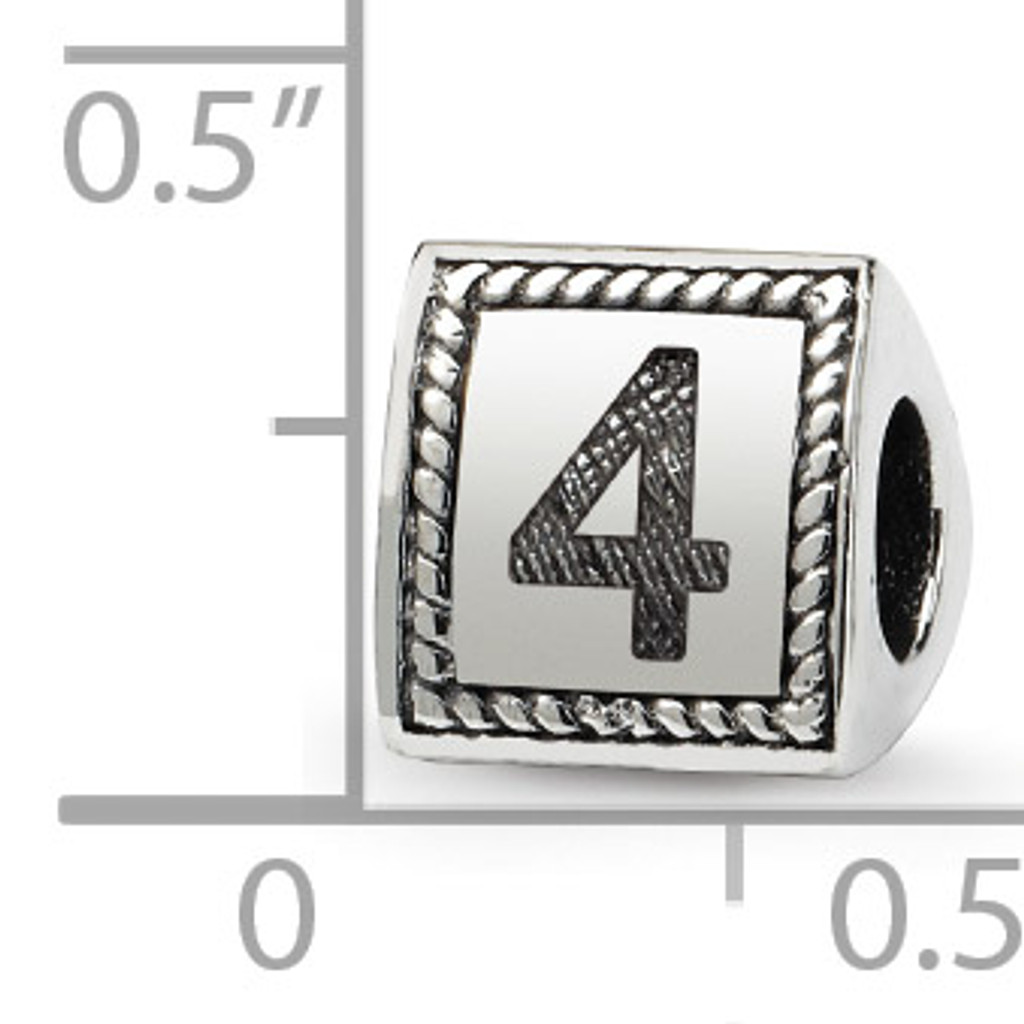 Number 4 Triangle Block Bead - Sterling Silver QRS1429N4