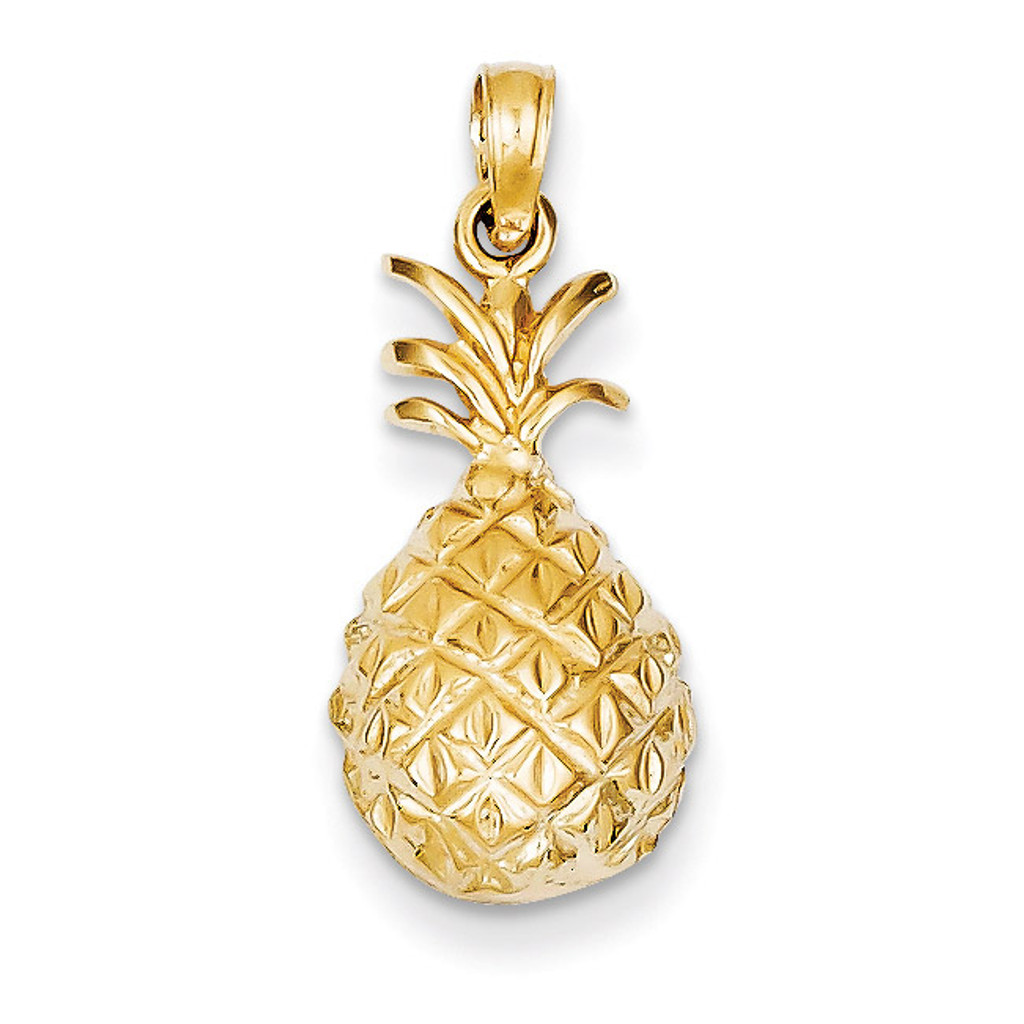 womens yellow gold pineapple box chain shop pendant necklace