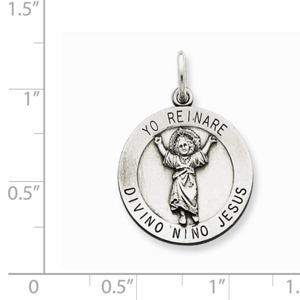 Divino Nino Medal (Divine Infant Jesus) Sterling Silver QC5486