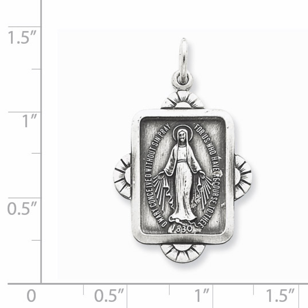 Miraculous Medal Antiqued Sterling Silver QC5510