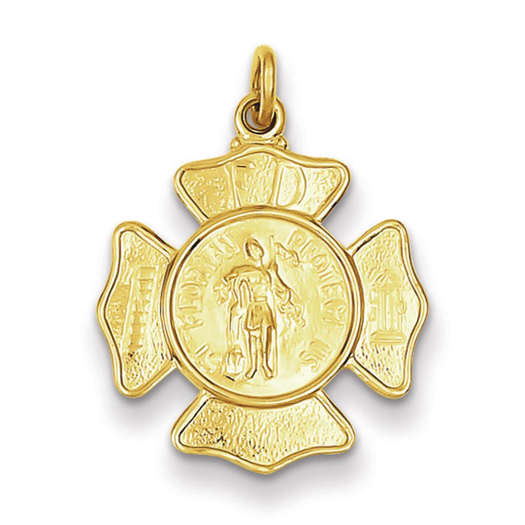Saint Florian Fireman's Badge Medal 24k Gold-plated Sterling Silver MPN: QC5665