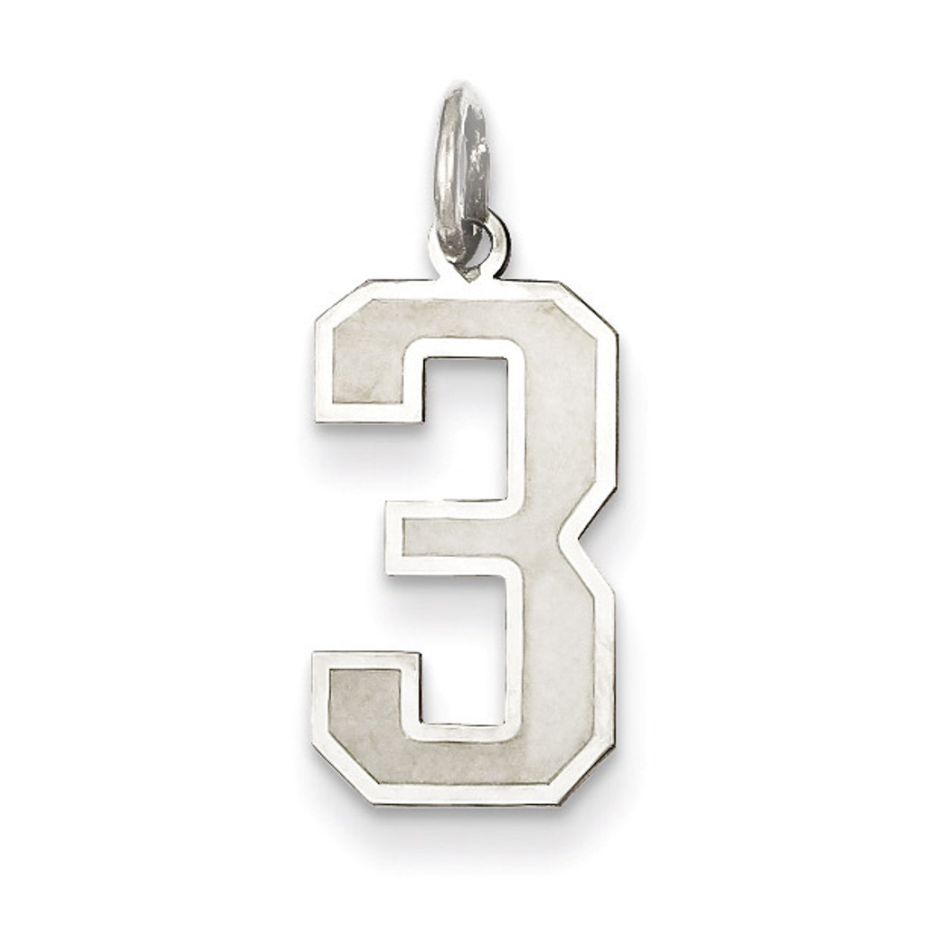 Medium satin number 3 pendant sterling silver homebello medium satin number 3 pendant sterling silver mpn qpm03 mozeypictures Image collections