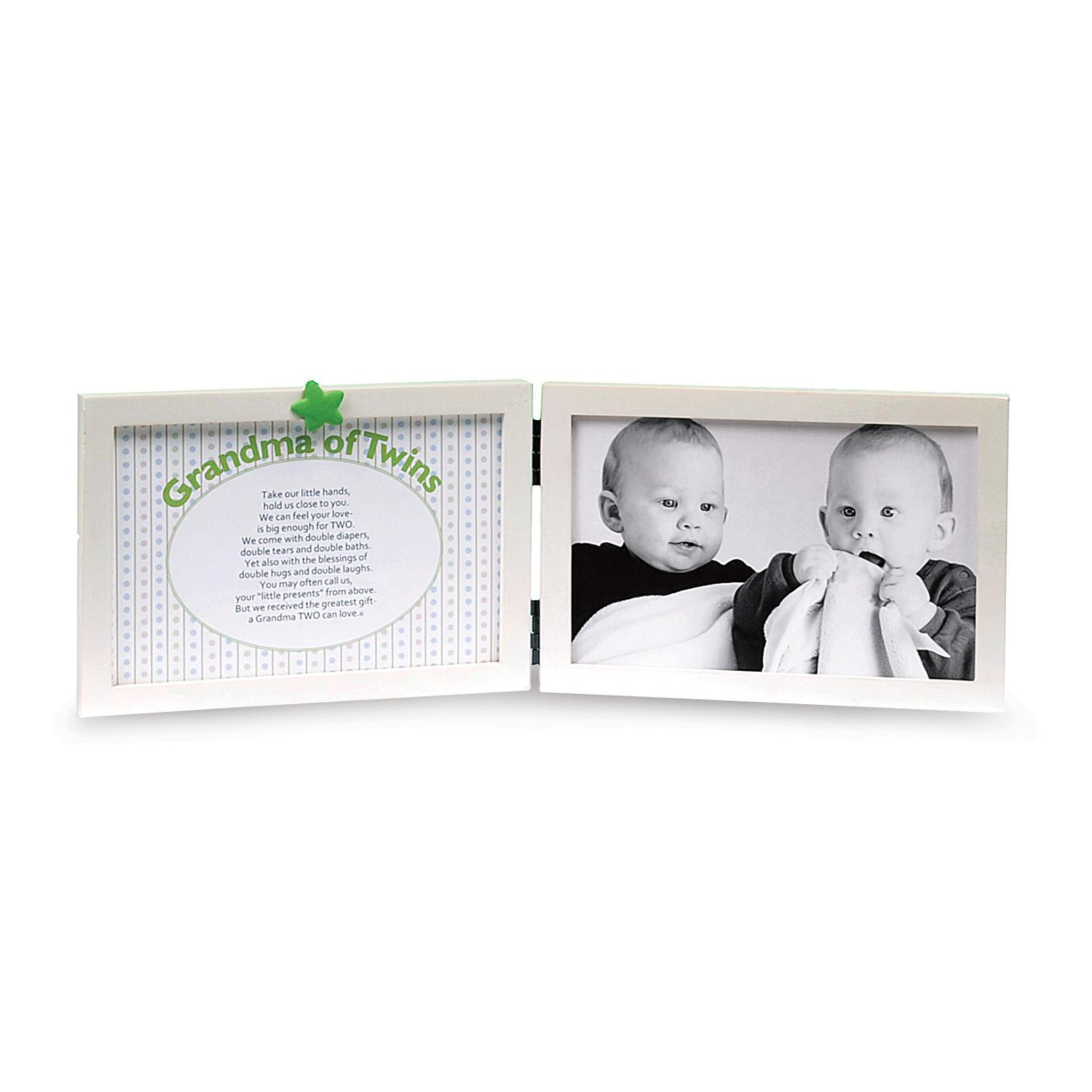 Grandma of Twins 4x6 Double White Tabletop Frame - HomeBello