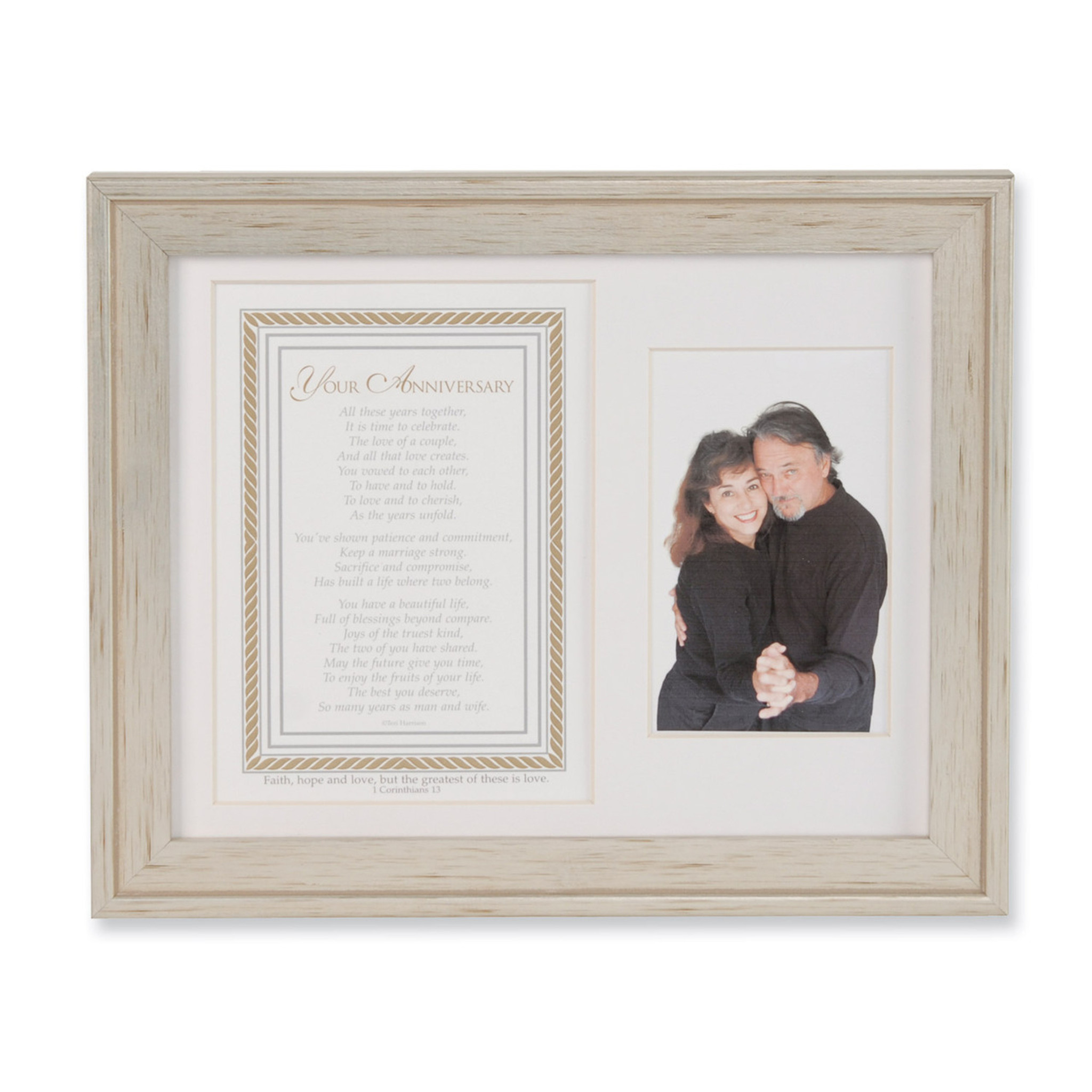 Silver Anniversary Poem and Double 8 x 10 Inch Picture Frame - HomeBello